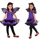 ハロウィン 衣装 子供 コウモリ 魔女 悪魔 コスプレ ハロウィン仮装 女の子 黒 キッズ 衣装 子供 かわいいコスチューム パープル
