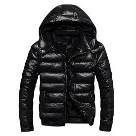 【送料無料】ダウンジャケット メンズ ダウン ジャケット レザー ダウンジャケット 軽量 メンズ ダウンジャケット 大きいサイズ 3L 4L 5L ダウン メンズ アウター 冬服 黒 かっこいい 防寒
