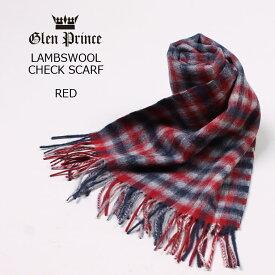 GLEN PRINCE (グレンプリンス) LAMBSWOOL CHECK SCARF - #2 RED マフラー メンズ レディース