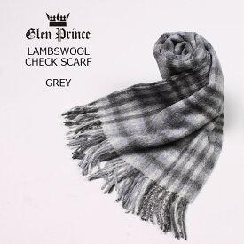 GLEN PRINCE (グレンプリンス) LAMBSWOOL CHECK SCARF - #4 GREY マフラー メンズ レディース