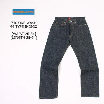 RESOLUTE(リゾルト)710ONEWASH-66TYPEINDIGO[WAIST26-34]ジーンズデニムパンツメンズ