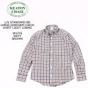 KEATON CHASE USA (キートンチェイスUSA) L/S STANDARD BD LARGE GINGHAM SHIRT LIGHT LINING - WHITE_NAVY_BROWN ボタンダウンシャツ …