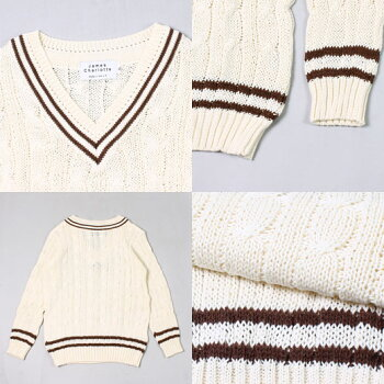 JAMESCHARLOTTE(ジェームスシャルロット)CRICKETCABLEVEEPULLOVERSWEATERCOTTON-WILDOAT+BRONZE_WILDOATスプリングニットメンズ