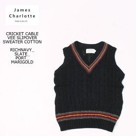 JAMES CHARLOTTE (ジェームス シャルロット) CRICKET CABLE VEE SLIPOVER SWEATER COTTON - RICH NAVY + SLATE_PORT_MARIGOLD ニットベスト メンズ