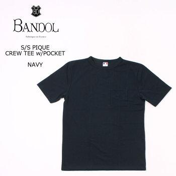 BANDOL(バンドール)S/SPIQUECREWTEEw/POCKET-NAVYカットソーメンズ