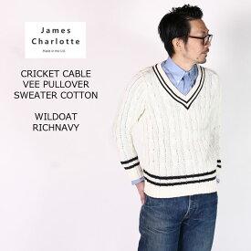 【2019春夏 モアセール】JAMES CHARLOTTE (ジェームス シャルロット) CRICKET CABLE VEE PULLOVER SWEATER COTTON - WILD OAT + RICH NAVY スプリングニット メンズ