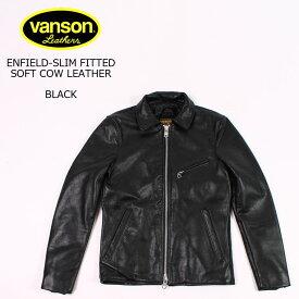 VANSON (バンソン) ENFIELD-SLIM FITTED SOFT COW LEATHER - BLACK ライダースジャケット メンズ