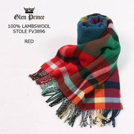GLEN PRINCE (グレンプリンス) 100% LAMBSWOOL STOLE - RED マフラー メンズ レディース