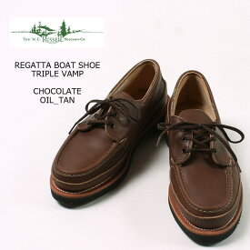 RUSSELL MOCCASIN (ラッセル モカシン) REGATTA BOAT SHOE TRIPLE VAMP - CHOCOLATE OIL TAN トリプルバンプ 革靴 メンズ