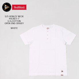 FELCO×HEALTHKNIT (フェルコ×ヘルスニット) S/S HENLEY NECK POCKET-T U.S.COTTON OPEN END JERSEY - WHITE ヘンリーネックTシャツ メンズ