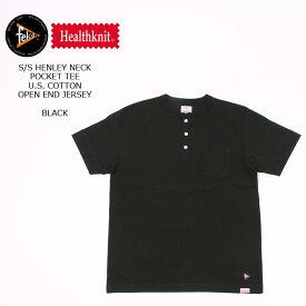 FELCO×HEALTHKNIT (フェルコ×ヘルスニット) S/S HENLEY NECK POCKET-T U.S.COTTON OPEN END JERSEY - BLACK ヘンリーネックTシャツ メンズ