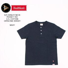 FELCO×HEALTHKNIT (フェルコ×ヘルスニット) S/S HENLEY NECK POCKET-T U.S.COTTON OPEN END JERSEY - NAVY ヘンリーネックTシャツ メンズ