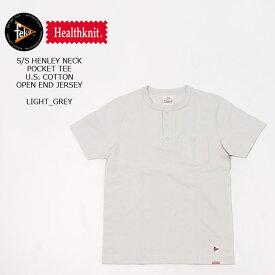 FELCO×HEALTHKNIT (フェルコ×ヘルスニット) S/S HENLEY NECK POCKET-T U.S.COTTON OPEN END JERSEY - LIGHT GREY ヘンリーネックTシャツ メンズ