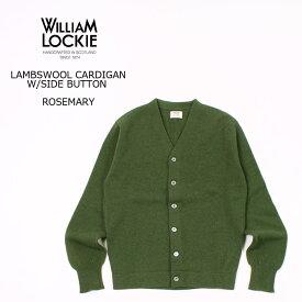 【2021 スプリング&サマー モアセール】WILLIAM LOCKIE (ウィリアム ロッキー) LAMBSWOOL CARDIGAN W/SIDE BUTTON - ROSEMARY カーディガン メンズ