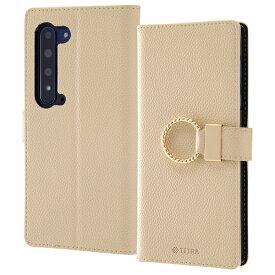 AQUOS R5G 手帳型 ケース ベージュ レザー リング付き スタンド機能 おしゃれ ストラップホール カードポケット かわいい TETRA