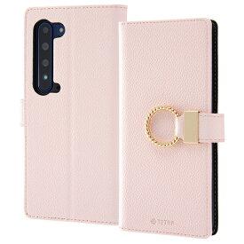 AQUOS R5G 手帳型 ケース ピンク レザー リング付き スタンド機能 おしゃれ ストラップホール カードポケット かわいい TETRA