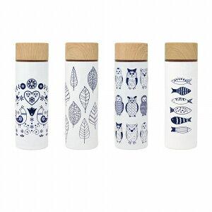 ミニ水筒 ステンレス マグボトル140ml 4柄 北欧柄 ボトル ポケミニ 鳥 フクロウ 葉 魚 かわいい プレゼントにも