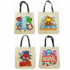 トートバック MARVEL 選べる4種類 かわいい キャラ マーベル 鞄 不織布生地 エコバッグ スパイダーマン プレゼントにも