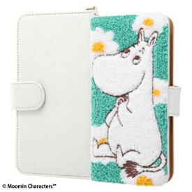 汎用 スマホケース ムーミン サガラ刺繍 手帳型 ケース ミラー付き 便利なDリング付き カードポケット かわいい