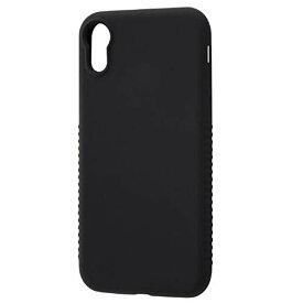 iPhone XR ケース シリコン シルキータッチ グリップ付 ブラック