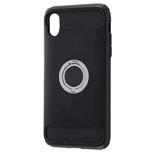 iPhone XR用 耐衝撃ケース リング付360 ブラック