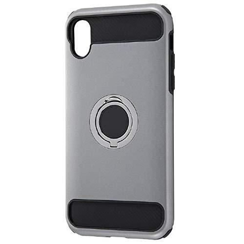 iPhone XR用 耐衝撃ケース リング付360 シルバー