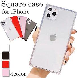 【 あす楽送料無料 】 iPhoneケース クリアケース スクエア型 | iPhone12 12mini 12Pro 12ProMax iPhoneSE2 第2世代 iPhone11 11Pro 11ProMax iPhoneX XS XR XSMax iPhone8 iPhone7 iPhone6 Plus スクエア 四角 かわいい 可愛い シンプル おしゃれ 透明 TPU ストラップ