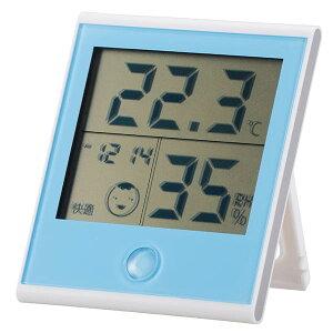 TEM-200-A 【快適表示・時計機能付き】デジタル温湿度計 ブルー OHM(オーム電機)