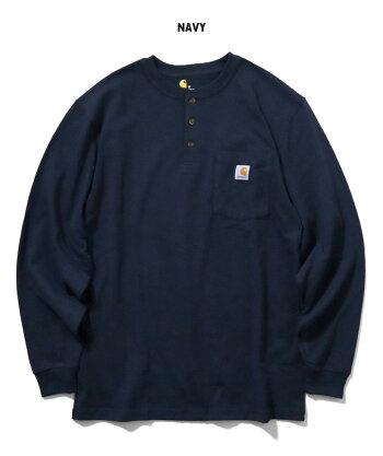 『CARHARTT/カーハート』crhtt-k128LONGSLEEVEWORKWEARH/NPOCKETT-SHIRT/ロングスリーブワークウェアヘンリーネックポケットTシャツ-全6色-アメカジ/シンプル/ロゴ/ボタン/パッチ/リブ[CRHTT-K128]