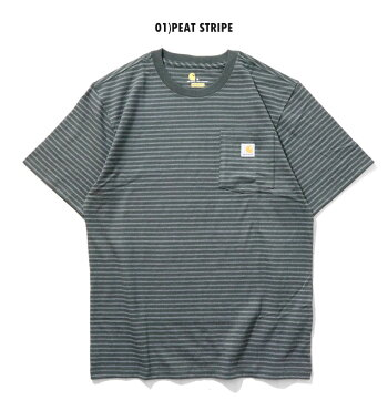 『CARHARTT/カーハート』crhtt87bWORKWEARBORDERPOCKETTEESHIRT-OriginalFit-/ワークウェアボーダーポケット半袖Teeシャツ-全4色-アメリカ/1889/ロゴ/Tシャツ[CRHTT87B]