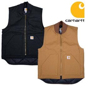 『CARHARTT/カーハート』 crhtt-v01 ARCTIC-QUIT LINED DUCK VEST / 中綿入りダックワークベスト -全2色- 「アメリカ」「1889」「ダック」「ブラウン」「ブラック」「アメカジ」「ワーク」「キルティング」「V01」[CRHTT-V01]