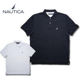 NAUTICA / ノーティカ NTC61700 SOLID INTERLOCK POLO SHIRT/ ソリッド インターロック ポロシャツ -全2色-コットン ホワイト ブラック インポート ノーチカ/[NTC61700]