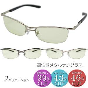 (エイトトウキョウ)eight tokyo サングラス メンズ UVカット ブルーライトカット メガネ 鯖江 高性能レンズ スタイリッシュ メタル ナイロール フチなし