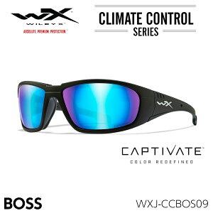 ワイリーエックス ボス サングラス 偏光 WXJ-CCBOS09 キャプティベイト ブルーミラー マットブラック
