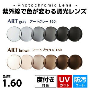 色が変わる調光レンズ 度付き Ito Lens イトーレンズ アート調光 アートグレー160 アートブラウン160 紫外線 UVカット CSコート 防汚コート プラスチック 国産レンズ