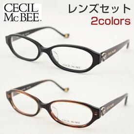 【レンズセット】[CECIL McBEE] レンズセット 度付き CMF-7020 度なし セシルマクビー 全2色 メガネ レンズ レディース ロゴ 黒縁 ハート 新品 めがね 女子 ケース付 伊達メガネ かわいい 正規品