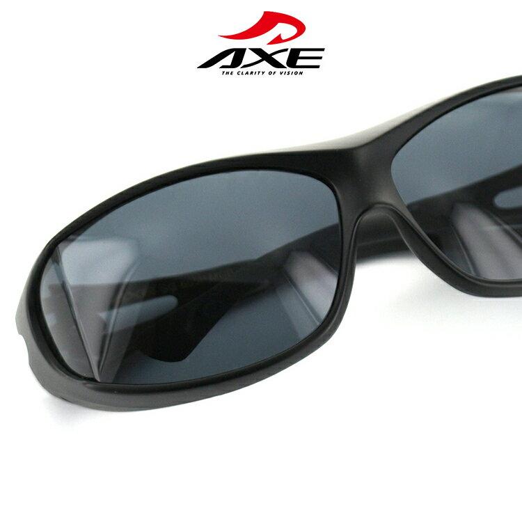 アックス サングラス オーバーグラス SG-605P MCB 65サイズ オーバル マットブラック メンズ 偏光レンズ UVカット AXE