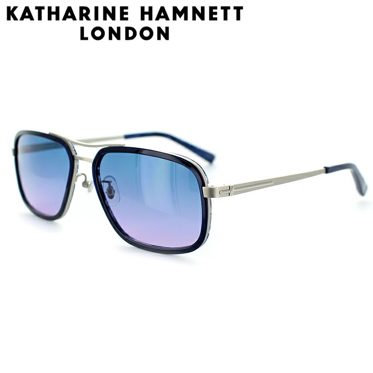 キャサリンハムネット サングラス KH926 58サイズ スクエア ネイビー マットシルバー メンズ 男性用 KATHARINE HAMNETT UVカット
