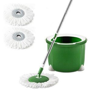 【送料無料】 Cleanhome 回転モップ フローリング フロアモップ バケツ付き クロス2枚付き 床掃除 乾拭き 水拭き 洗浄脱水一体 掃除用品 収納簡単