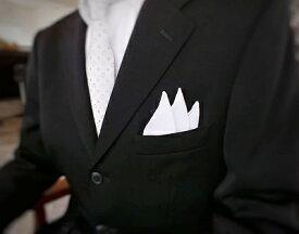 麻(リネン)ポケットチーフ 純白 手巻き 33x33cm 大判 wlpc1