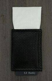 EZ Hanky 簡易+多機能ポケットチーフセット TVフォールド型【白】ヘリンボーン柄 チーフ本体:シルク100% wt-1