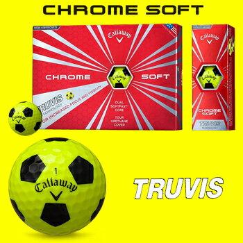 【限定品】キャロウェイ日本正規品CHROME SOFT TRUVIS(クロムソフト トゥルービス)イエロー/ブラックゴルフボール「1ダース(12個入)」【あす楽対応】