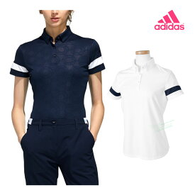 adidas Golf アディダスゴルフ 春夏ウエア ヘキサゴンエンボスプリント 半袖ボタンダウンシャツ レディスモデル 「GLU44」 【あす楽対応】