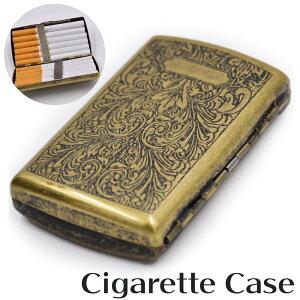 【送料無料】 ビンテージ加工 スリム シガレットケース 12本収納 合金 レギュラーサイズ メンズ 男性 銅 真鍮 ブロンズ 茶色 高級感 金属 箱 煙草入れ ヴィンテージ たばこ けーす タバコ 手