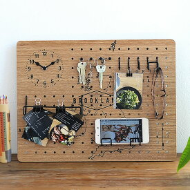 ペグボード 時計付きペグボード フック付き パンチングボード 有孔ボード 壁 カフェ セット おしゃれ インテリア 北欧 新築祝い 箱入
