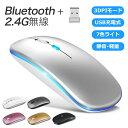 P15 2021最新版 ワイヤレスマウス Bluetooth5.2 マウス 充電式 超薄型 静音 2.4GHz 無線 7色ライ付 3DPIモード 光学式…