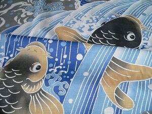 風呂敷開運ふろしき鯉の滝登り(118cm)商品拡大画像