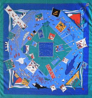 浅山美里水族館(ブルー)綿中ふろしき(75cm)商品画像