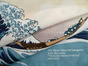 チーフ浮世絵浪裏に富士(ベージュ)綿シャンタンふろしき(48cm)商品拡大画像