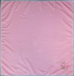 バラ刺繍入り無地ふろしき(ピンク)(75cm)商品画像